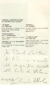 Ottobre 1969 - Claudio Abbado ringrazia i Pueri Cantores per il magnifico concerto tenuto al Teatro alla Scala di Milano